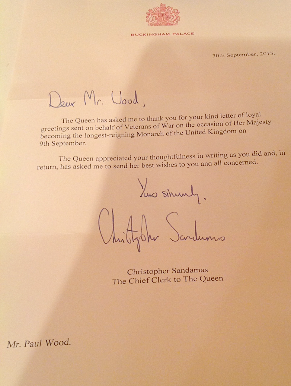 A letter on behalf of the Queen