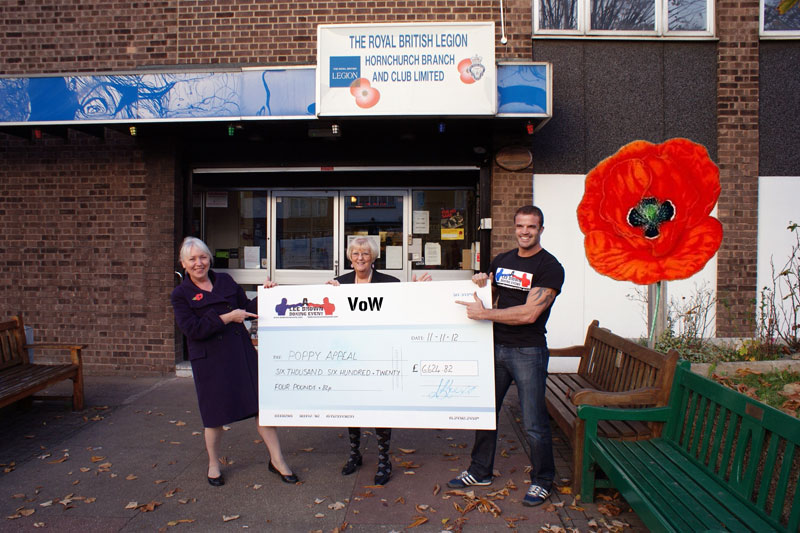 A cheque for £6,624.82 given to the Horchurch Royal British Legion from the troops at VoW